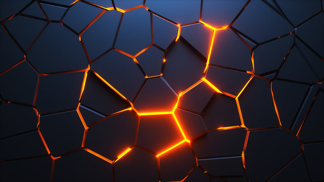 Abstract geometric background. Explosion power design with crushing surface. 3d illustration.
