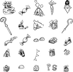 Icon set - collection of Dutch Sinterklaas items