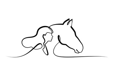 One line drawing. Horse and woman heads logo
