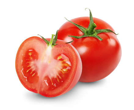 Composition with whole and sliced tomatoes isolated on white background. Full depth of field.