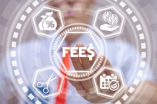 Fee and Fees Financial Technology. Man working on virtual screen of future and touches icon: fees with dollar. Business hidden money, banking and tax concept.