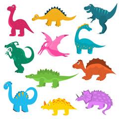 Cartoon Color Cute Dinosaurs Icon Set. Vector