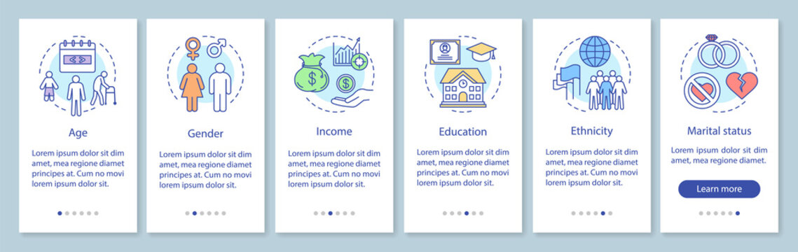 Demographics onboarding mobile app page screen with linear concepts. Audience segmentation walkthrough steps graphic instructions. UX, UI, GUI vector template with illustrations