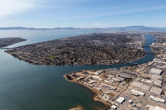 Aerial of Alameda Insalnd and San Francisco Bay near Oakland, California.