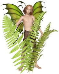 Fantasy illustration of a fairy boy standing among the ferns, 3d digitally rendered illustration