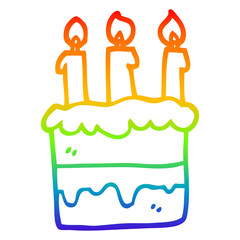 rainbow gradient line drawing cartoon birthday cake
