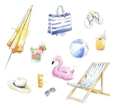 Set of colorful beach accessories. Beach clipart.