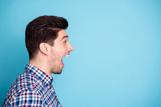 Half turned closeup photo studio portrait of handsome joking comic humorous he him freelancer work worker grimacing facial emotion expression isolated pastel background copyspace