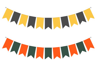 Pennant banner streamers, vector illustration. Hanging flags. Party garland decor. Holiday bunting