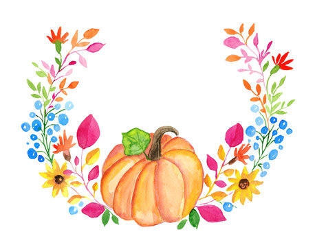 Watercolor autumn floral wreath with pumpkin isolated on white background.