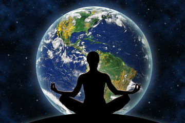 Female yoga figure against a space background and a planet Earth. Elements of this image furnished by NASA.