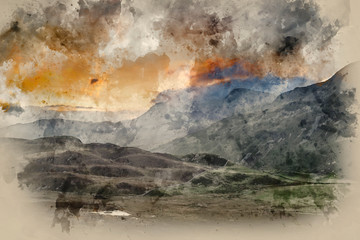 Digital watercolor painting of Stunning sunrise mountain landscape with vibrant colors and beautiful cloud formations