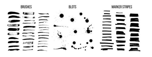 Black ink brush strokes vector set