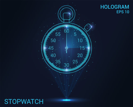 Hologram stopwatch. Holographic projection of the stopwatch. Flickering energy flux of particles. The scientific design of the sport.
