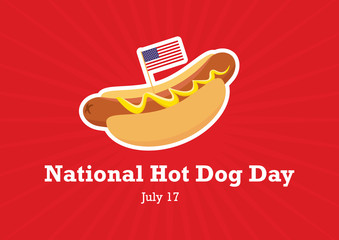 National Hot Dog Day vector. Hot Dog with mustard cartoon. American hotdog sandwich vector. Hot Dog with american flag. National Hot Dog Day Poster, July 17. Important day