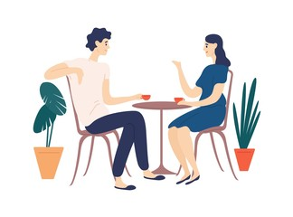 Cute couple sitting at table, drinking tea or coffee and talking. Young funny man and woman at cafe on date. Dialog or conversation between romantic partners. Flat cartoon vector illustration.