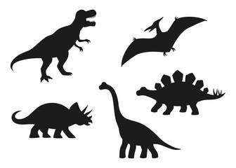 Dinosaur vector silhouettes - T-rex, Brachiosaurus, Pterodactyl, Triceratops, Stegosaurus. Cute flat dinosaurs isolated