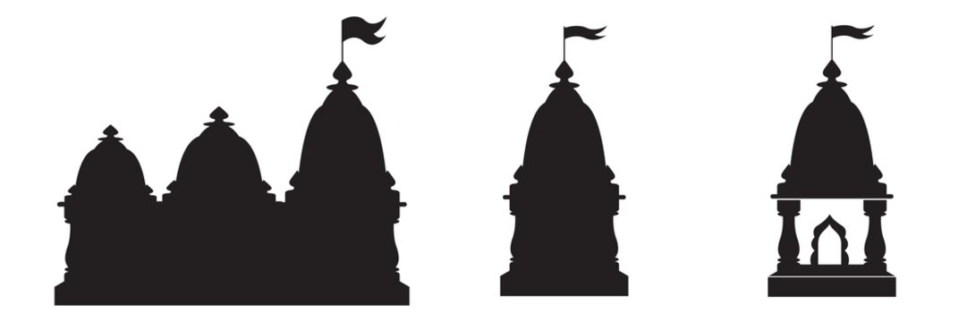 Hindu spiritual temple black silhouette