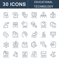 Set Vector Line Icons of Educational Technology