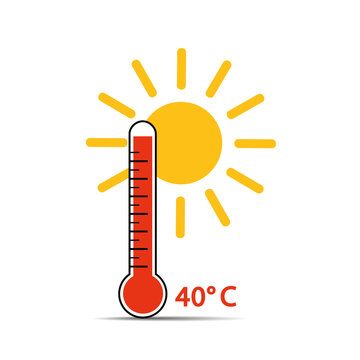 heat thermometer icon 40 degrees summer weather with sunshine vector illustration EPS10