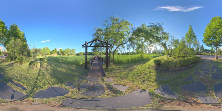 Ansan, South Korea - 7 June 2019. Panorama 360 degree view in park. Forest and Park 360 image, VR AR content.