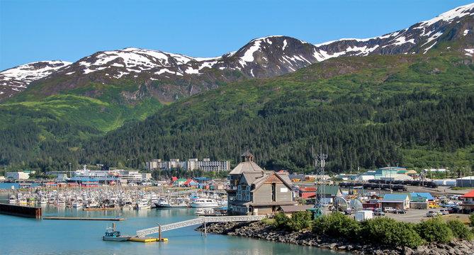 Mountains and Prince William Sound encircle Whittier, Alaska