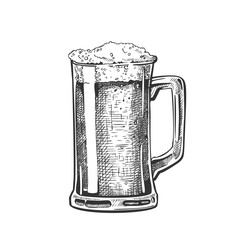 Hand Drawn Mug With Froth Bubble Beer Drink Vector. Full Mug With Handle And Alcoholic Fresh Cold Brewery Liquid Light Ale. Closeup Monochrome Black And White Template Cartoon Illustration