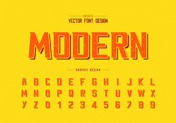 Texture Font and alphabet vector, Bold Modern Typeface and letter number design, Graphic text on background