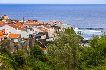 View of the town of Maia on the island of Sao Miguel, Azores archipelago