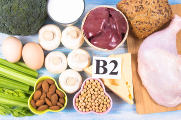 Food ingredients containing a large amount of vitamin B2 (riboflavinum).