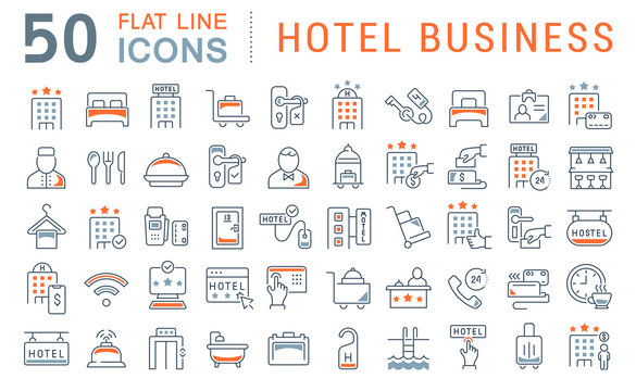 Set Vector Line Icons of Hotel Business
