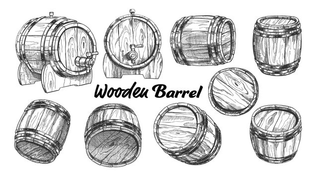 Vintage Wooden Barrel In Different Side Set Vector. Collection Of Barrel For Production, Storaging And Shipping Alcoholic Drinks. Monochrome Equipment Object For Liquid Cartoon Illustration