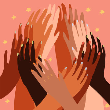 Vector illustration of a people's hands with different skin color together. Race equality, feminism, tolerance art in minimal style. Seamless tile pattern.