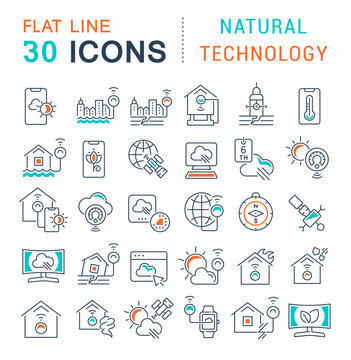 Set Vector Line Icons of Natural Technology