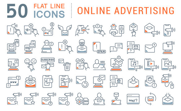Set Vector Line Icons of Online Advertising