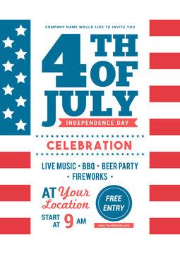 4th of July celebration poster templates Vector illustration. American flag background, Flyer design