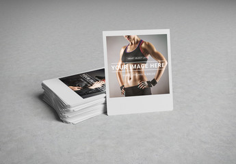Stack of Instant Photos Mockup