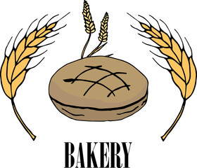 Vector drawing of bakery products drawn by hand. Cartoon image of fresh pastries and wheat ears. Emblem in the form of illustrations for signs bakery with a place for the name. Baker's family crest.7