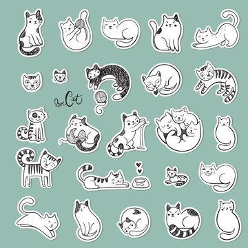 Cute doodle cats with different emotions.
