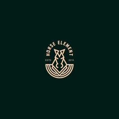 icon logo horse hero with line art