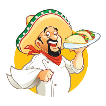 Mexican chef holding plate with tacos