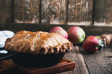 Apple pie in cast iron skillet, traditional Thanksgiving dessert
