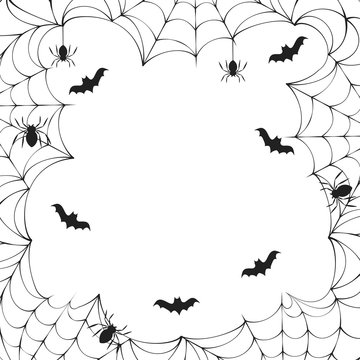 Halloween spiderweb border frame with bats for party invitation. Vector isolated spooky text banner background for october night.