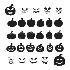 Halloween collection of jack o lantern pumpkin silhouettes, icons with spooky smiling faces. October party scary cartoon clipart and templates.