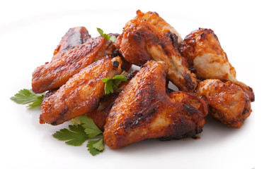 Plate of delicious barbecue chicken wings Wall mural