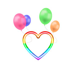 Vector 3D Rainbow Colored Heart Shape Flying on Colorful Balloons Isolated, Bright Colors Illustration Template.