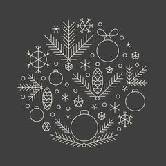 Minimalistic linear new year round ornament