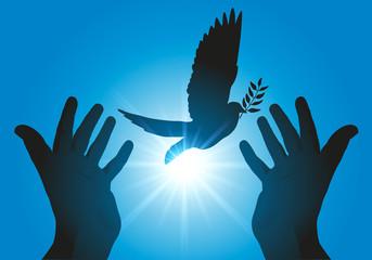Concept de la paix et de liberté avec deux mains tendues, relâchant un vol de colombes dans le ciel au soleil couchant.