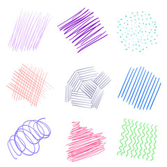 Backgrounds with array of lines. Intricate chaotic textures on white. Wavy backdrops. Hand drawn tangled patterns. Colorful illustration. Sketchy elements for posters and flyers