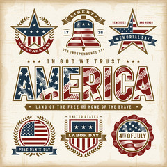 Vintage USA Patriotic Holidays Labels Set. Editable EPS10 vector illustration in retro woodcut style with transparency.